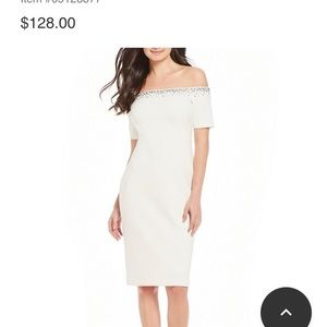 White Off Shoulder Cocktail Party Dress